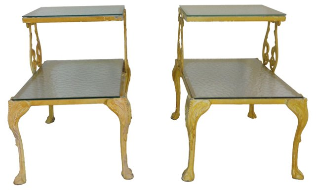 2-Tier Iron Accent Tables, Pair