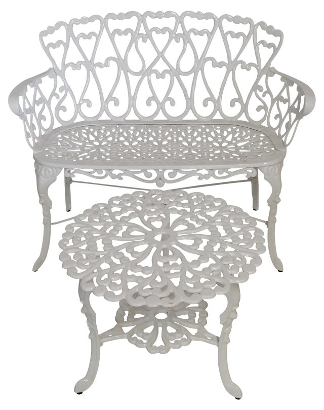 Cast Iron Heart-Motif Bench &  Table