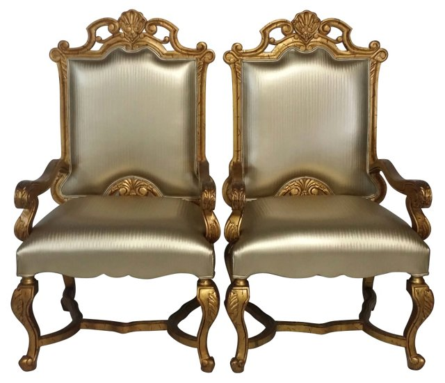 French Régence-Style  Chairs, Pair
