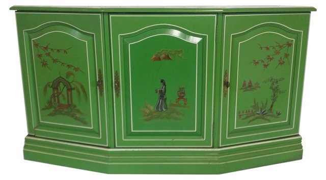 Hand-Painted Chinoiserie Cabinet