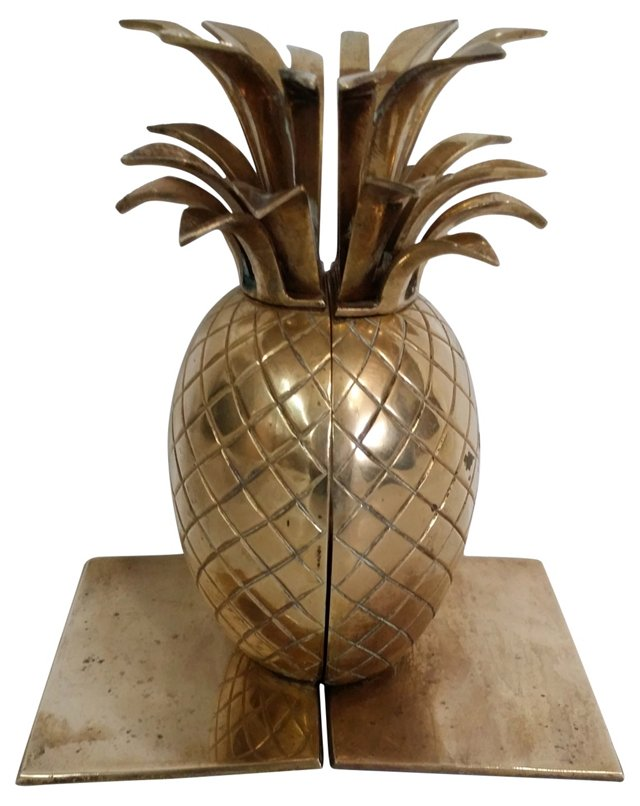 Brass Pineapple Bookends
