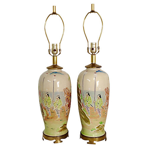 Japanese Satsuma Crackle Lamps, Pair