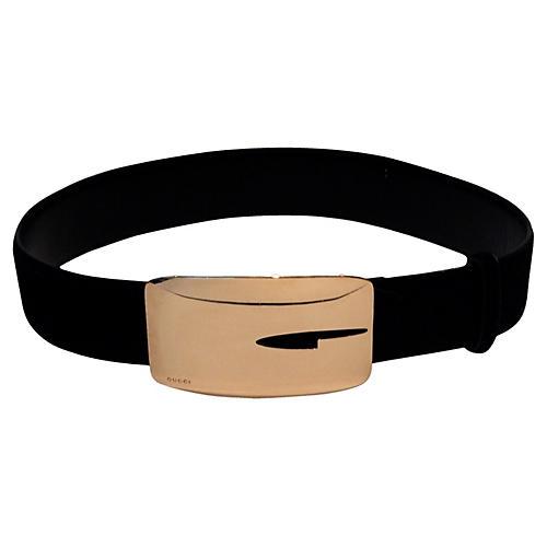 Gucci Hide & Laser-Cut Logo Belt
