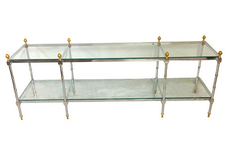 Chrome & Glass 2-Tier Console Table