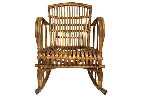Franco Albini-Style Rattan Rocking Chair