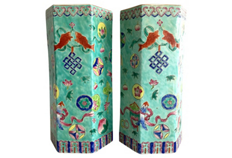 Chinese Export Hexagon Vases, S/2