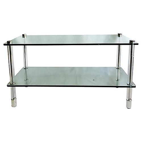 Lucite & Chrome 2-Tier Glass Sofa Table