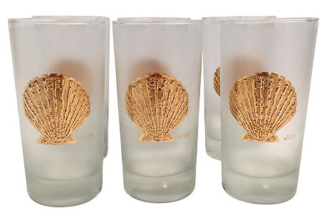 Culver Gold Shell Glasses, S/6