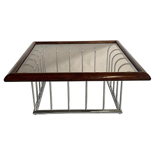Chrome Wood & Smoke Glass Coffee Table