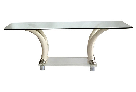 Lucite & Faux-Tusk Table w/ Glass Top