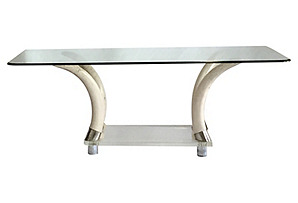Lucite & Faux-Tusk Table w/ Glass Top*