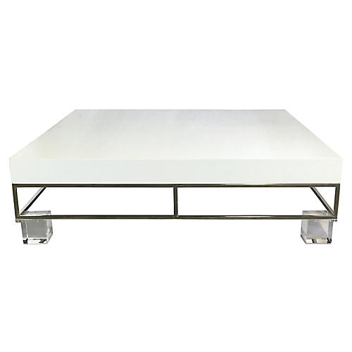 Chrome & Lucite Lacquer Coffee Table