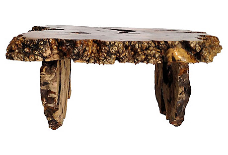 1960s Live-Edge Burl-Wood Coffee Table