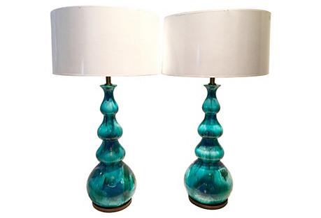 Ceramic 4-Gourd Lamps, Pair