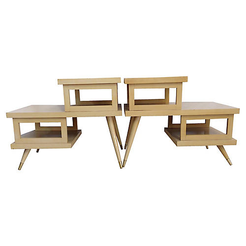 Midcentury 3-Tier Side Tables, Pair