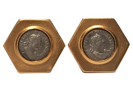 1980s Ben-Anum Roman Coin Earrings