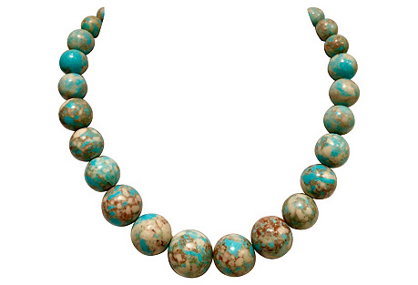 Turquoise Graduated Bead Choker Necklace