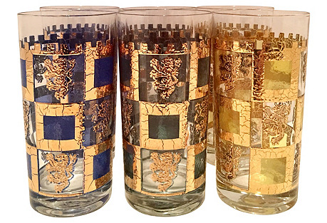Midcentury Highball Glasses, S/6