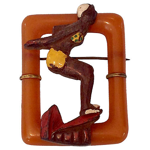 1930'S Bakelite & Wood Diver Girl Brooch