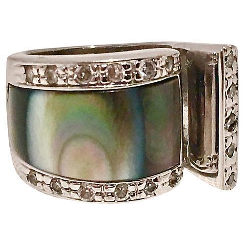 Sterling Abolone & Rhinestone Ring