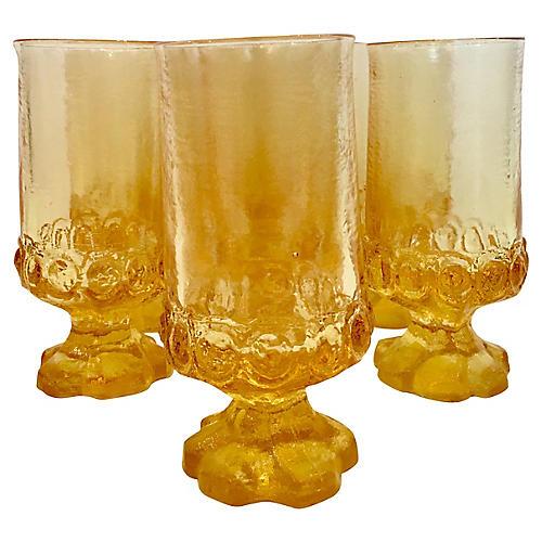 Tiffin Thumbprint Glass Tumblers, S/7
