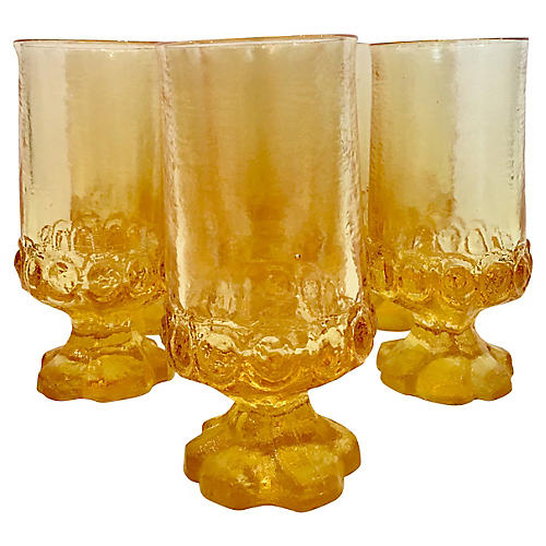 Tiffin Thumbprint Glass Tumblers, S/7
