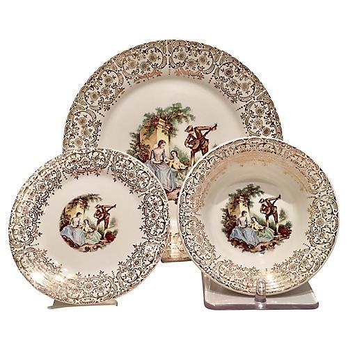 22K Gold Limoges Plates, S/18