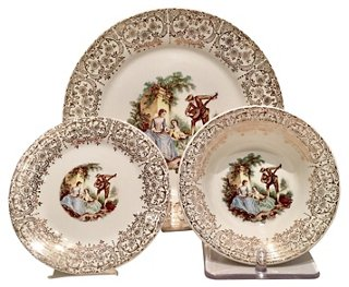 22K Gold Limoges Plates S/18 - Dinnerware Sets - Dinnerware - Tabletop - Decor \u0026 Entertaining | One Kings Lane  sc 1 st  One Kings Lane & 22K Gold Limoges Plates S/18 - Dinnerware Sets - Dinnerware ...