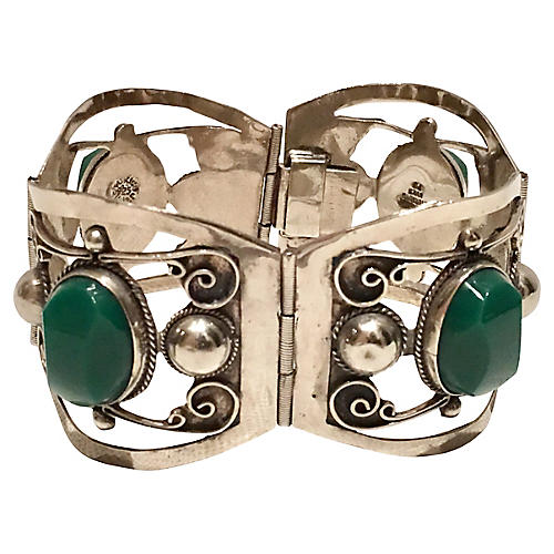 Sterling & Chalcedony Panel Bracelet