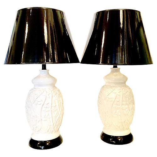 Ceramic Bamboo-Style Lamps, Pair