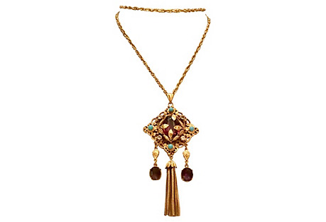 Russian Gold Tassel Pendant Necklace