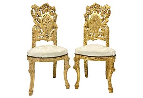Art Nouveau Gilt Chairs, Pair