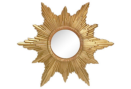 Hollywood Regency Convex Sunburst Mirror