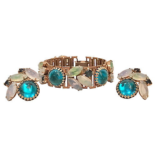 Art Glass Bracelet & Earrings Set