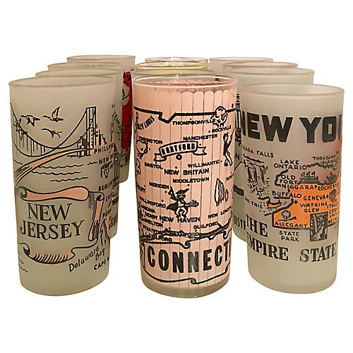 East Coast Souvenir State Glasses, S/12