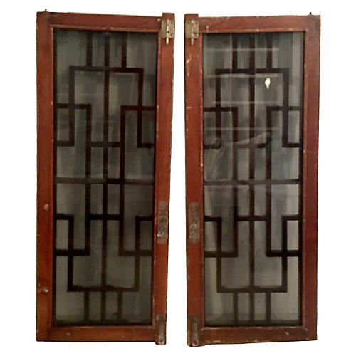 Chinese Mahogany & Glass Windows, Pair