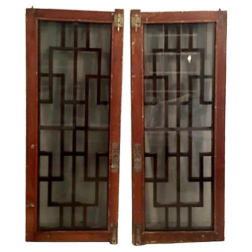 chinese mahogany glass windows