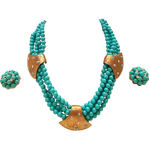 Faux-Turquoise Bead Necklace & Earrings
