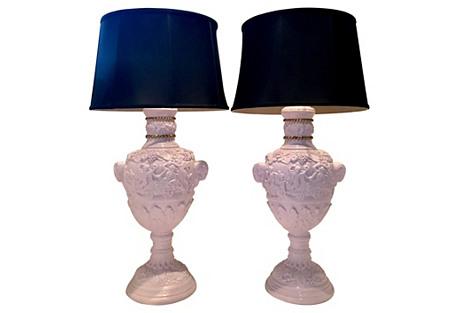 Neoclassical Lavender Lamps, S/2