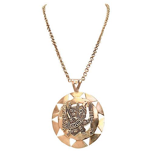Sterling Silver Aztec Pendant Necklace