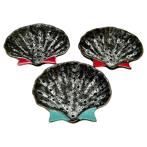 French Pottery Oyster Dish Trio S/3