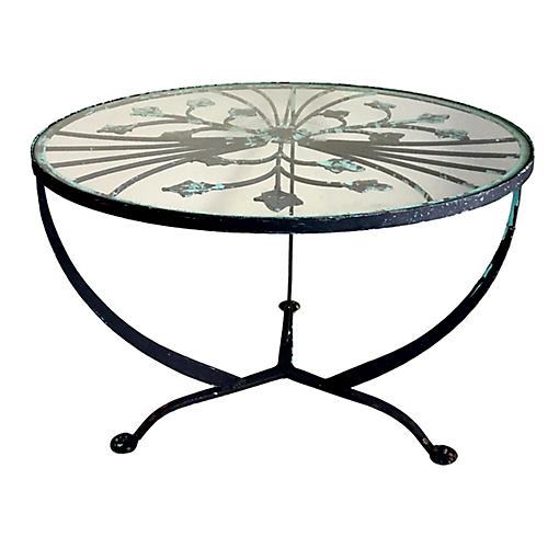Art Deco-Style Iron Glass-Top Table