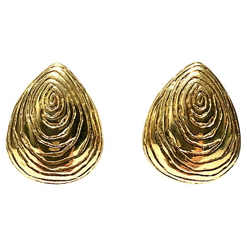 Givenchy Gold Faux-Bois Earrings