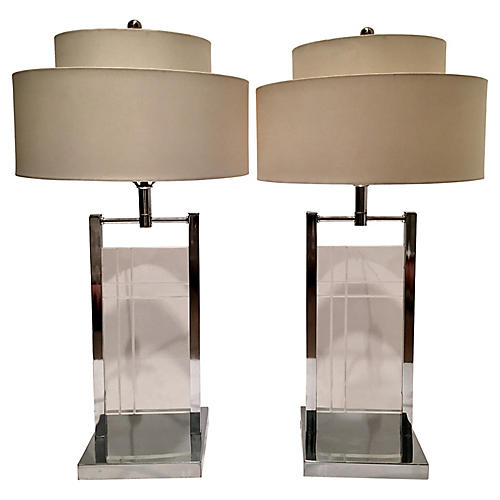 1970s Kovacs Lucite Table Lamps, S/2