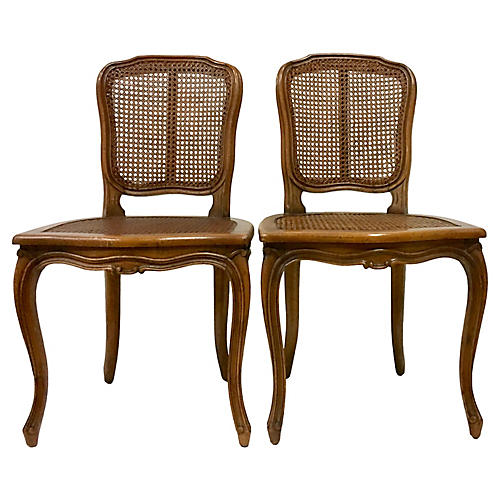 Pair Of Carved Wood & Cane Chairs