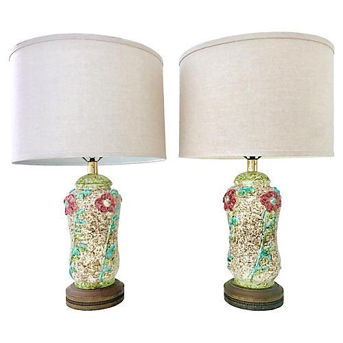 Pair Of Ceramic Glaze Pottery Lamps