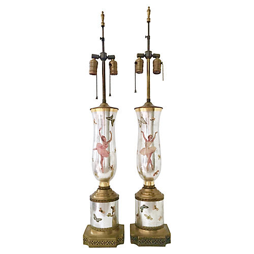 1940s Églomisé Decoupage Lamps, Pair