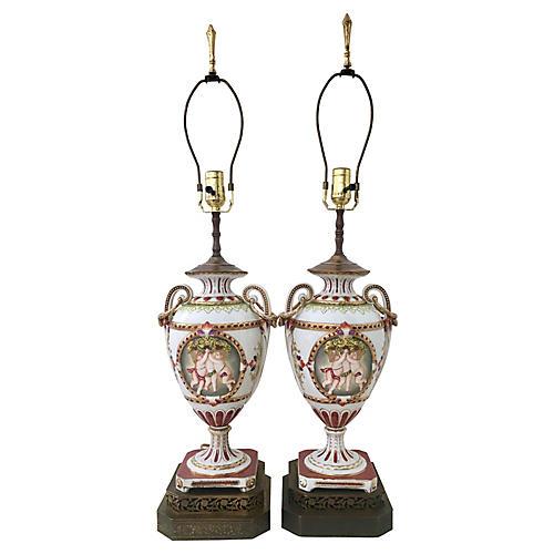 Antique Meissen Urn Lamps, Pair