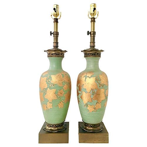 Antique Venetian Glass Lamps, Pair