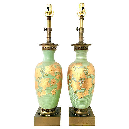Antique Pair Of Venetian Glass Lamps